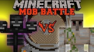 Wither Vs Iron Golem - Minecraft Mob Battles