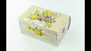 Decoupage cardboard box - Painted box - Decoupage tutorial - Decoupage for beginners