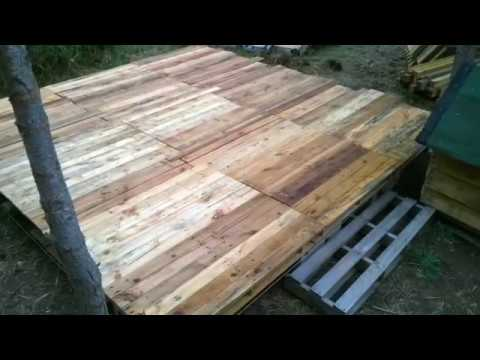 Terrasse en palette youtube for Idee palette de bois