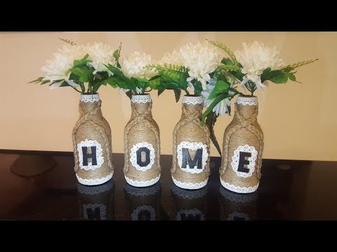 DIY ideas / Recycle Glass Bottles with jute rope / Easy Craft