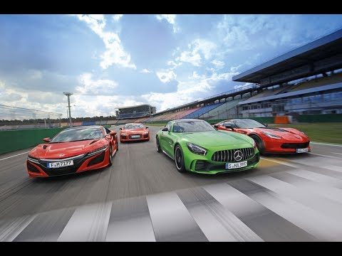 Audi R8 V10 Plus vs Chevrolet Corvette Z06 vs Honda NSX vs Mercedes AMG GT R