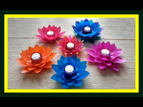 DIY lotus flower candle holder from waste milk bottle #howto make Lotus flower candle holder