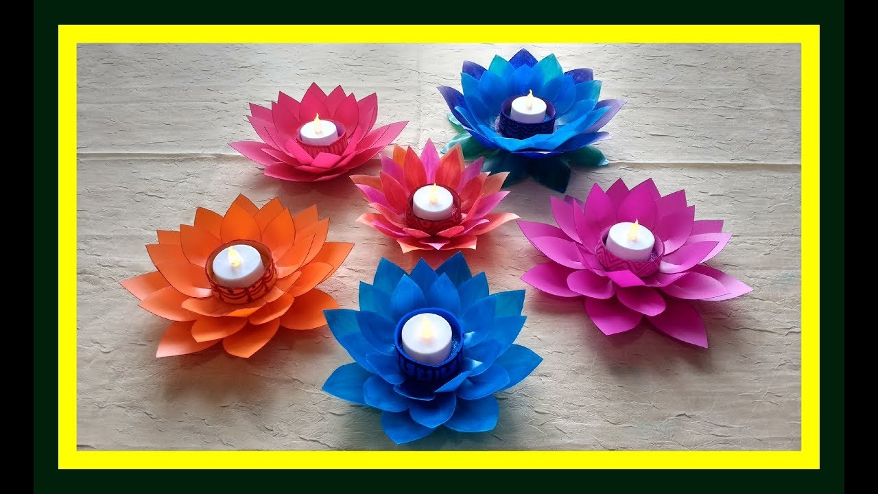Diy Lotus Flower Candle Holder From Waste Milk Bottle Howto Make