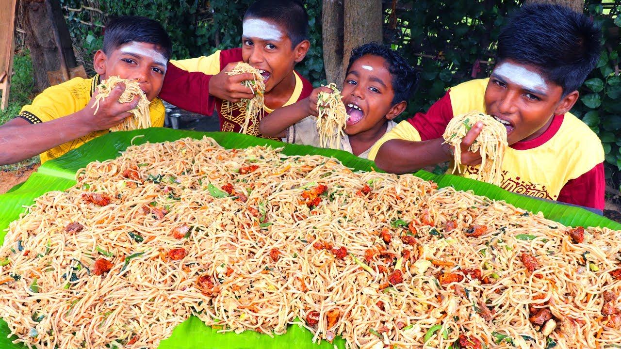 10 KG MUTTON NOODLES EATING | TASTY MUTTON NOODLES EATING | VILLAGE BOYS EATING