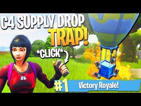 EPIC Fortnite Supply Drop C4 Trap! - Fortnite NEW C4 Explosive Gameplay! (C4 Trap Kill)