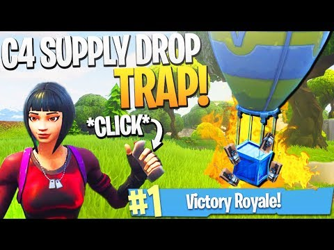 EPIC Fortnite Supply Drop C4 Trap! - Fortnite NEW C4 Explosive Gameplay! (C4 Trap Kill)