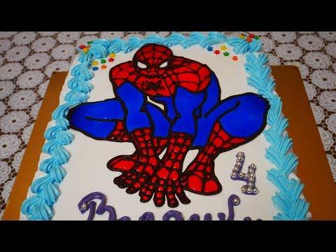 МК по детскому торту ЧЕЛОВЕК ПАУК торт для мальчика Украшение тортов шоколадом гель декором кремом