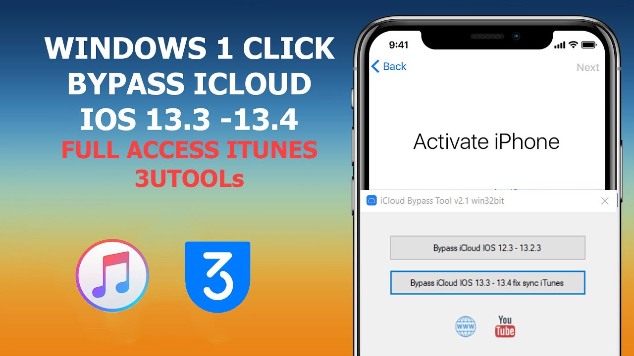 Windows One Click Bypass Icloud Ios 13 3 13 5 Fix Full Access Itunes 3utools Sync Media Youtube