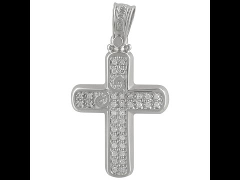 Σταυρός Βάπτισης Κ14 Λευκόχρυσος Γυναικείος ΤΡΙΑΝΤΟΣ ST1951