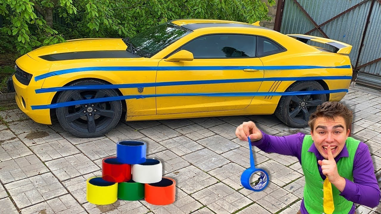 Mr Joe Taped CAMARO with blue Scotch Tape VS Red Man Cleans Car 13+