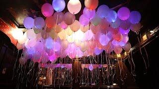 Выпуск светящихся воздушных шаров на свадьбе