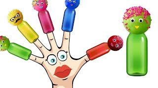 Learn Colors With Balloon  Pop Cake Bottles Finger Family Song Colors Learn GoGo KidsTV