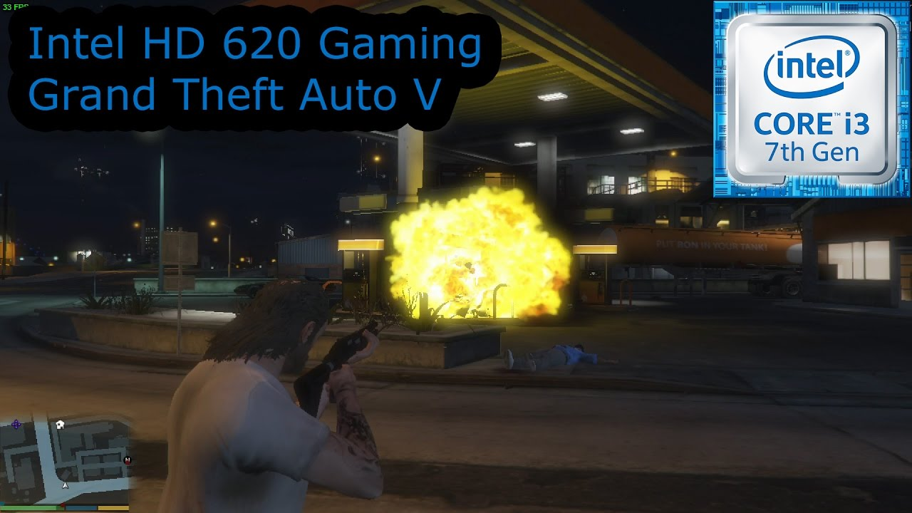 Intel HD 620 Gaming - Grand Theft Auto V - i3-7100U, i5-7200U, i7-7500U,  Kaby Lake