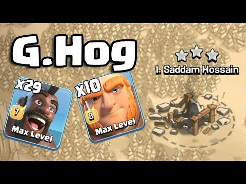 G.Hogs ! 10 Giant 29 Hogs Army Smashing TH11 3 Star Max War Attack Strategy Clans Of Clans