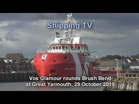Offshore  Service Vessel Vos Glamour rounds Brush Turn. 29 October.