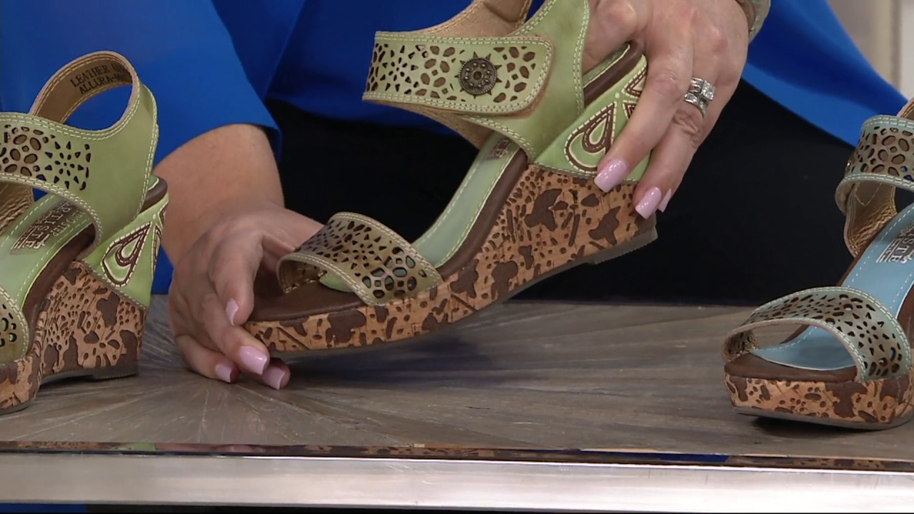 159474c27d Spring Step L'Artiste Leather Wedge Sandals - Allura on QVC - YouTube