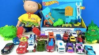 Heidi Caillou ve Hot wheels Garage oyuncak canavar arabalar ile timsah garajı kapışması yapıyoruz