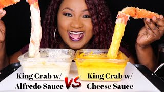 SEAFOOD BOIL MUKBANG , KING CRAB LEGS WITH CHEESE SAUCE , ALFREDO SAUCE