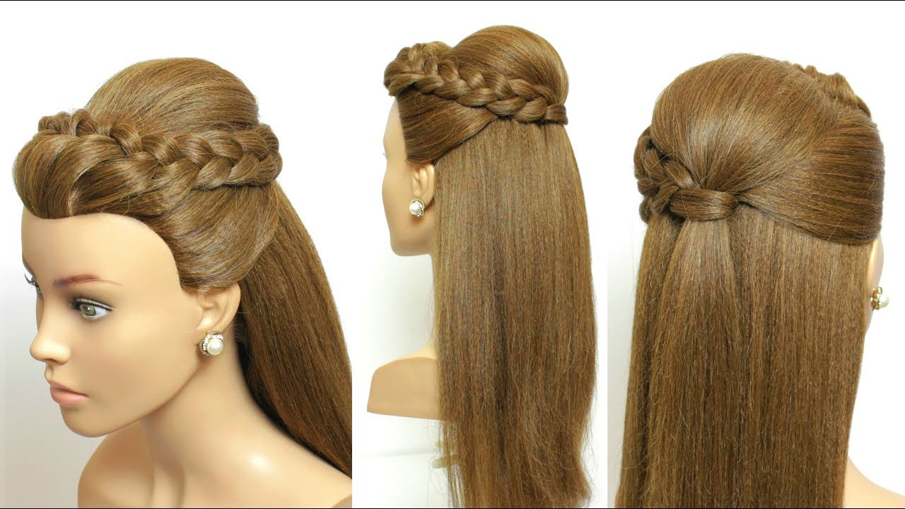 Simple Party Hairstyle For Long Hair With French Braid - YouTube