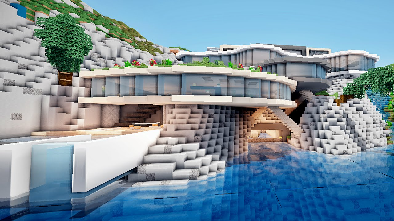 Minecraft enorme maison moderne sur une falaise youtube for Minecraft maison design