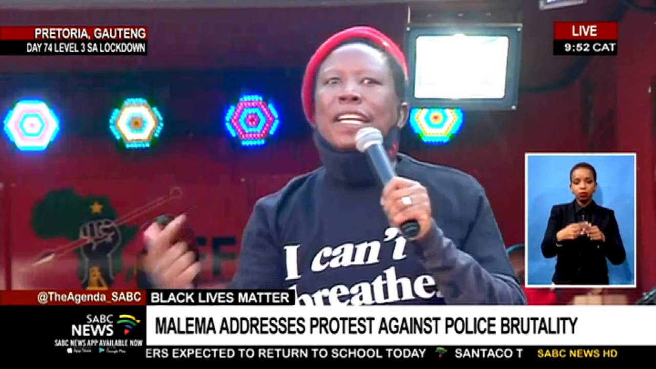 EFF leader Julius Malema addresses protest against police brutality LIVE