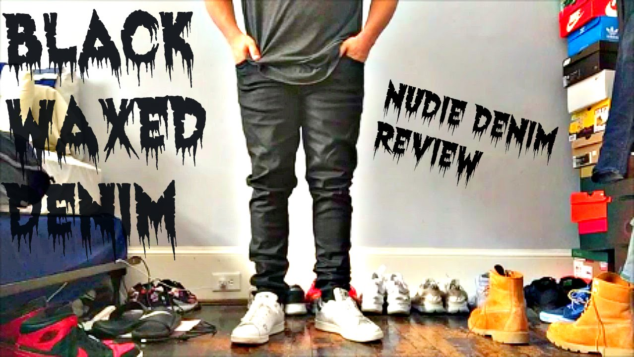 1c3fc0d12a18 Nudie Skinny Lin Denim   Black Waxed - YouTube