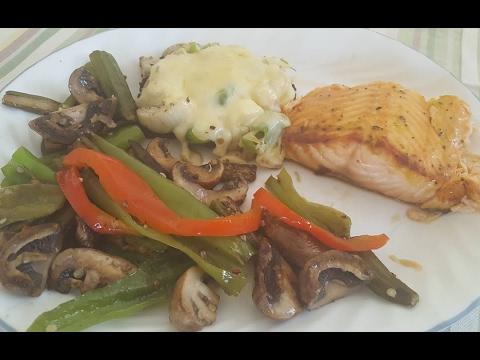 Grilled Atlantic Salmon, Stuffed Portobello Mushroom, Pan Roasted Vegetables
