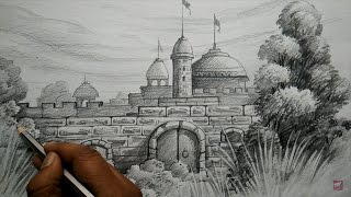 How to Draw FORT with PENCIL | Pencil Shading...