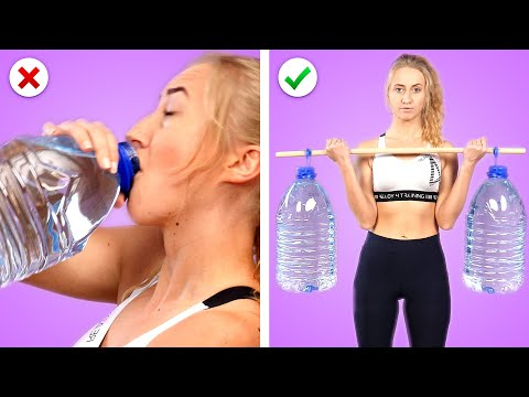 GET SLIM AT HOME! 20 Fun HOME WORKOUT Hacks! Fitness Life Hacks by Crafty Panda