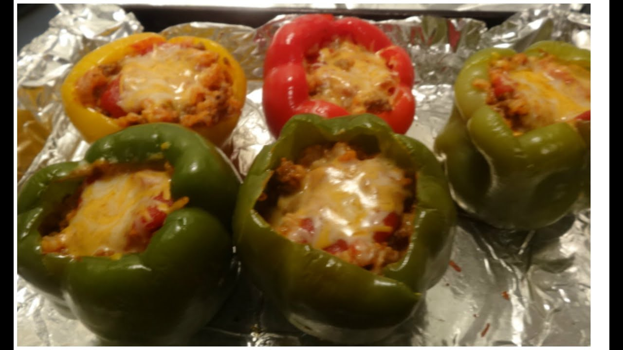 How to Make Homemade Stuffed Green Peppers - YouTube