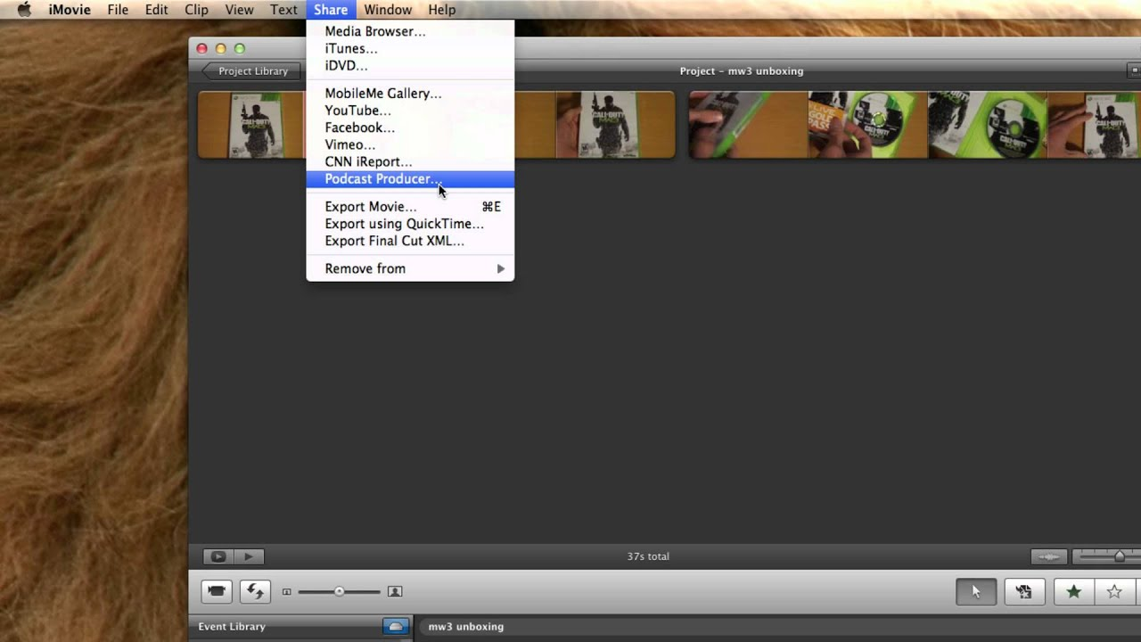 iMovie '11: How to export a project