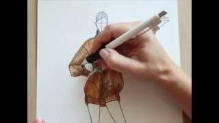 Fashion sketching  Видео урок по созданию fashion sketch свитера