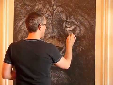 making of leo mural chalk on blackboard craie sur. Black Bedroom Furniture Sets. Home Design Ideas