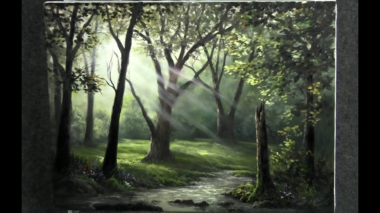 Paint with kevin hill sunray forest funnycat tv for Oil painting lessons near me