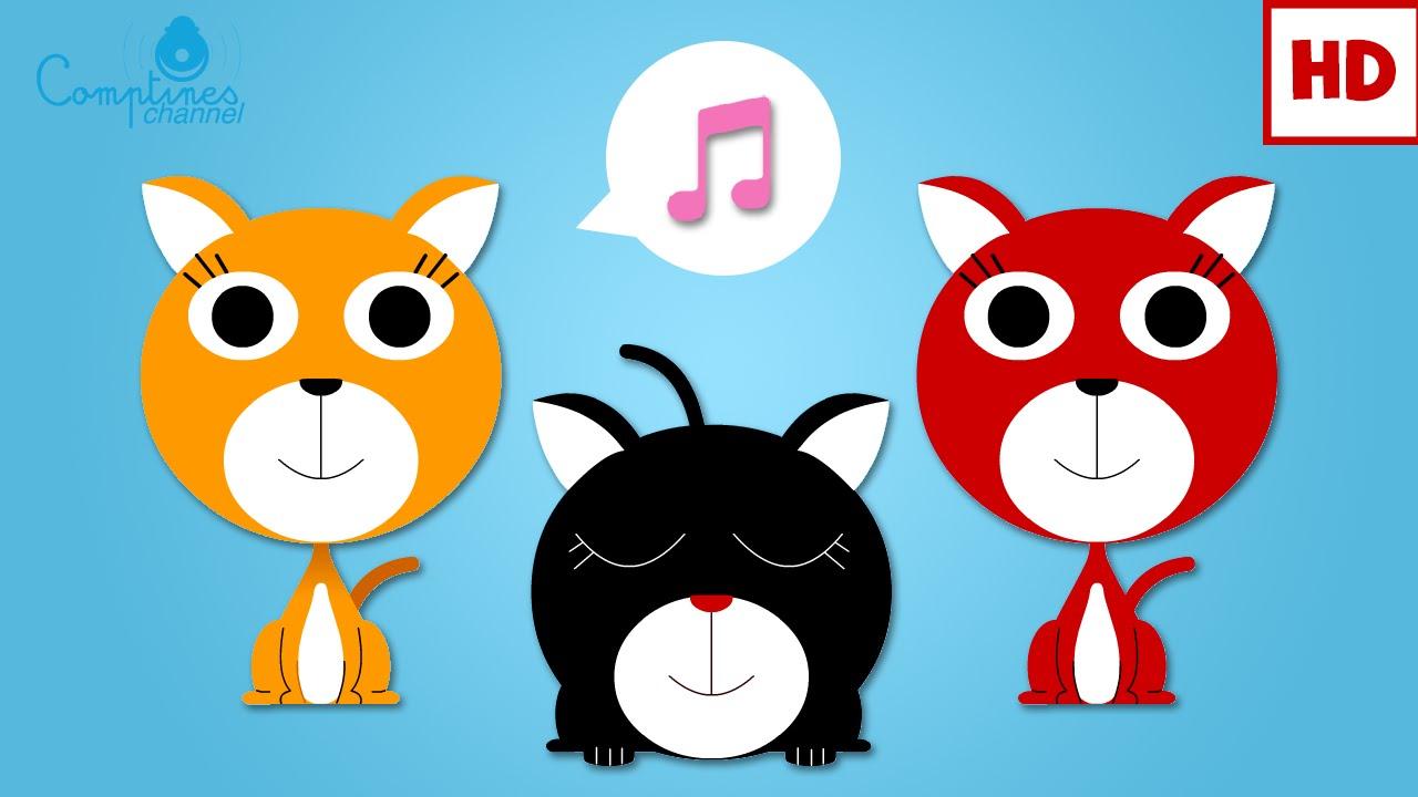 trois petits chats comptines et chansons classiques comptines maternelles pour b b youtube. Black Bedroom Furniture Sets. Home Design Ideas