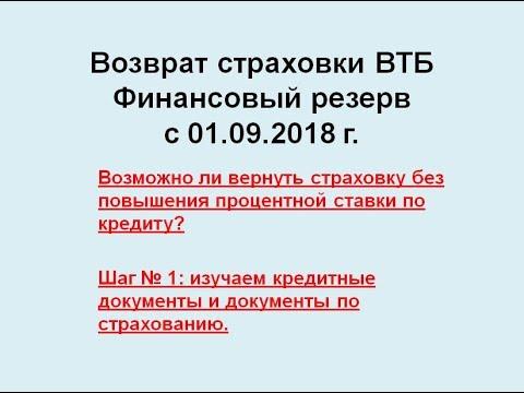Возврат страховки ВТБ Финансовый резерв с 01.09.2018 г.  и повышение процентной ставки по кредиту