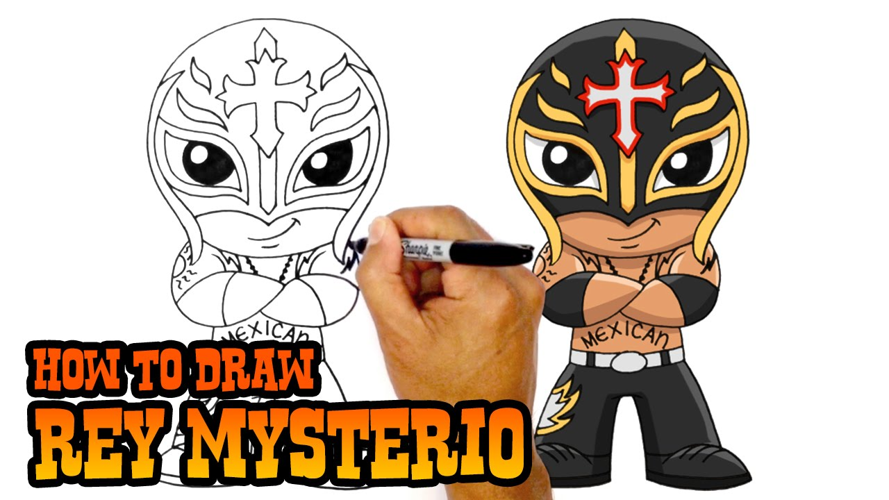 How To Draw Rey Mysterio Wwe Youtube