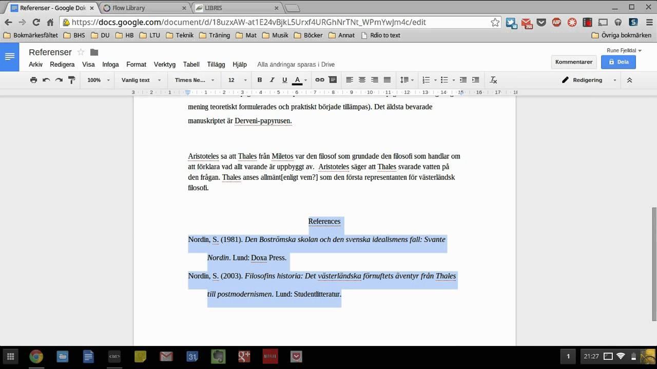 Hur Man Jobbar Med Referenser I Google Dokument YouTube - Google dokument