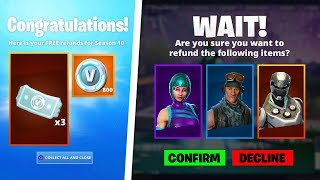COMMENT À GET 'UNLIMITED' REFUNDS in FORTNITE SEASON 10! - REFUND Plus de 3 ITEMS! (SYSTÈME DE REMBOURSEMENT)