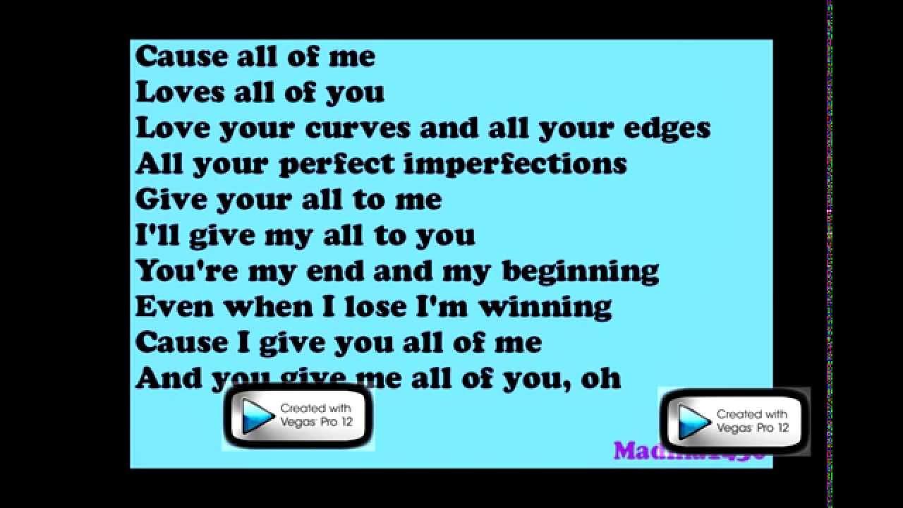 Photo of John Legend – All of Me Lyrics (On screen)