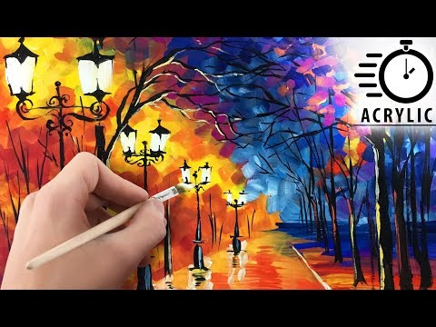 TIMELAPSE How to paint beautiful Fall forest LANDSCAPE! Acrylic painting tutorial for beginners EASY