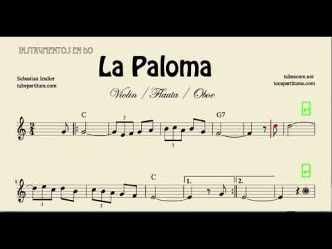 La Paloma Partitura de Violin Flauta y Oboe