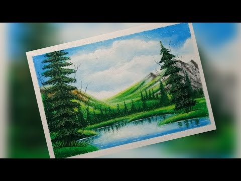 Sunny Morning scenery | Oil pastels Drawing | step-by-step | beginners