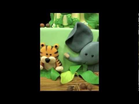 Jungle Animal Theme Baby Shower Cake