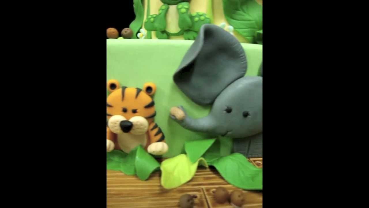 Jungle Animal Theme Baby Shower Cakes