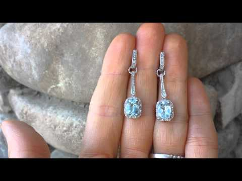 Vintage aquamarine & diamond dangle earrings