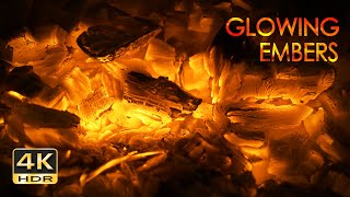 4K HDR Glowing Embers - Gentle Fire Crackles - Sounds for Sleeping - Fireplace Relaxation - 10 Hours