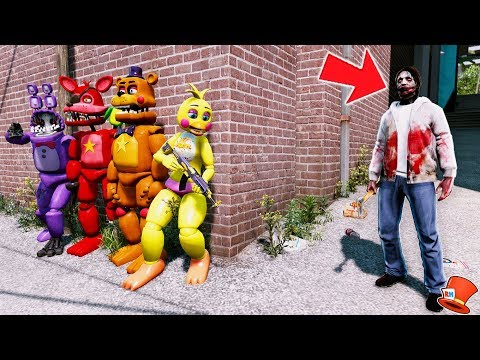 CAN THE ANIMATRONICS CAN HIDE FROM JEFF THE KILLER? (GTA 5 Mods FNAF RedHatter)