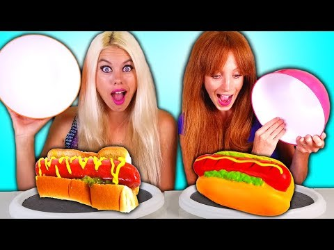 SQUISHY FOOD vs REAL FOOD Challenge PART 2!!! & Back To School Hacks and Tips!