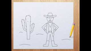 How to draw a cowboy step by step for kids